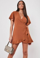 Missguided Rust Leopard Print Tie Front Cut Out Romper