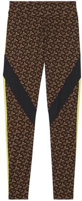 Burberry Colour Block Monogram Print Stretch Jersey Leggings