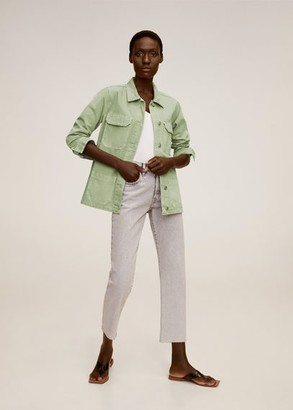MANGO Pocketed denim jacket green - XS - Women
