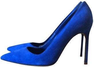 Manolo Blahnik Blue Suede Heels