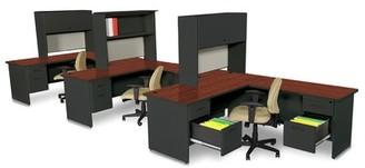 Red Barrel Studioâ® Crivello L-Shape Executive Desk with Hutch Red Barrel StudioA Color (Top/Frame): Black/Mahogany/Basin