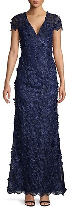 Carmen Marc Valvo Tufted Floral Sequin Gown