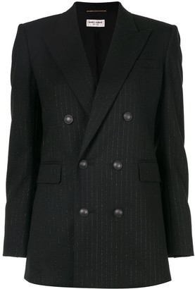 Saint Laurent Double-Breasted Pinstripe Blazer