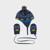 Paul Smith Baby Boys' Knitted 'City Cars' Hat And Mitten Set