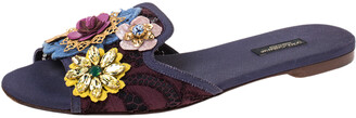Dolce & Gabbana Brown/Purple Lace Crystal Flower Embellished Flat Slides Size 39