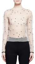 Alexander McQueen Long-Sleeve Sheer Wave Dot Top, Nude/Black