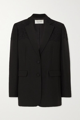Valentino Corded Lace-paneled Wool And Silk-blend Blazer - Black