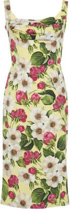 Dolce & Gabbana Floral-Print Square-Neck Stretch-Silk Dress