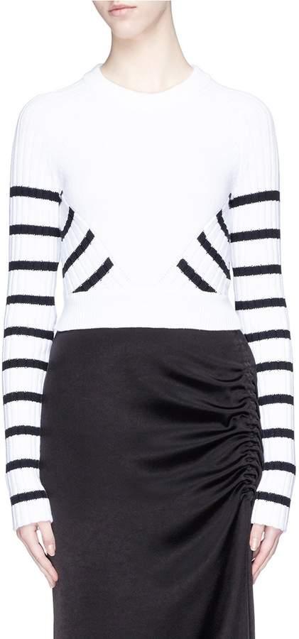 Alexander Wang Stripe panel cropped sweater