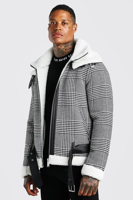 boohoo Mens Black Check Borg Lined Aviator With Double Collar, Black