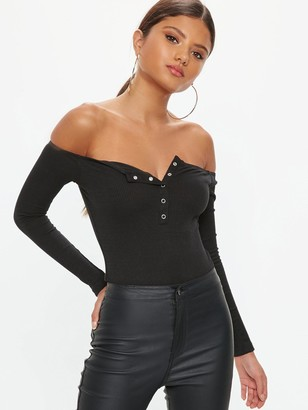 Missguided Button Front Long Sleeve Rib Bodysuit - Black