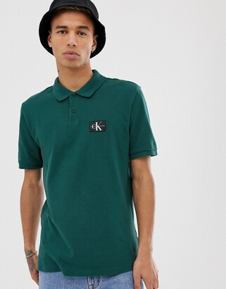 Calvin Klein Jeans monogram logo regular fit polo-Green