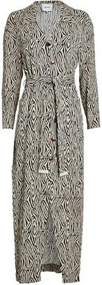 Nanushka Capri Zebra Printed Shirt Dress