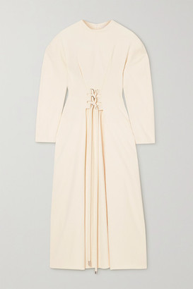 Tibi Chalky Drape Lace-up Grain De Poudre Midi Dress - Cream