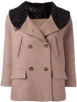 Alberto Biani fur effect collar peacoat