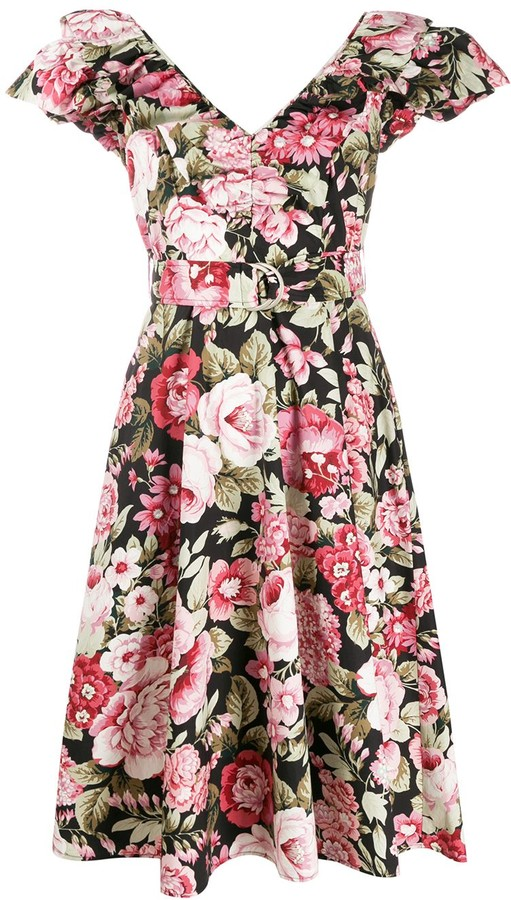 P.A.R.O.S.H. Floral Print Belted Dress