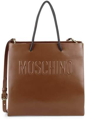 Moschino Embossed Logo Leather Crossbody Bag