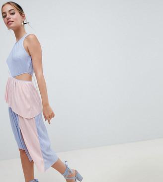Asos DESIGN Petite colour block plisse dress-Multi