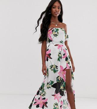 Parisian Tall off shoulder maxi dress in white floral print