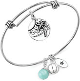 Unwritten Beach Charm and Amazonite (8mm) Adjustable Bangle Bracelet in Stainless Steel