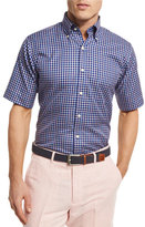Peter Millar NanoLuxe Tattersall Short-Sleeve Sport Shirt, Navy