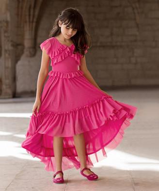 Joyfolie Girls' Casual Dresses Magenta - Magenta Clarissa Ruffle-Accent Hi-Low Dress - Toddler & Girls
