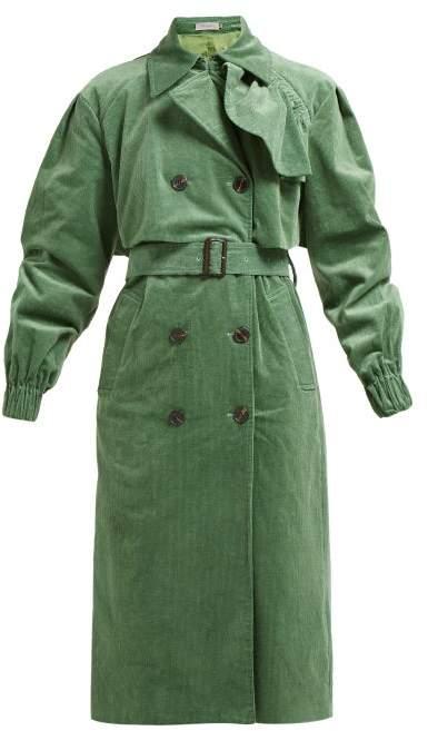 39e14eb8f Mia Cotton Corduroy Trench Coat - Womens - Green
