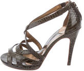 Diane von Furstenberg Embossed Leather Multi-Strap Sandals