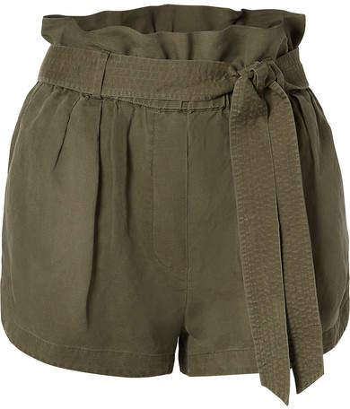 47de114c6 Belted Linen-blend Shorts - Army green