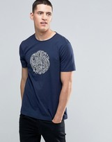 Pretty Green T-shirt With Linear Logo Print In Slim Fit Navy