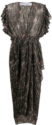 IRO Ruffled Sleeves Metallic-Sheen Dress