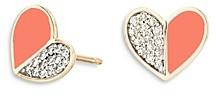 Adina Reyter 14K Yellow Gold Diamond & Coral Ceramic Heart Stud Earrings