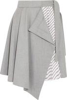 Carven Draped Wool And Striped Satin-twill Mini Skirt - Light gray