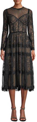 Tadashi Shoji Long-Sleeve Lace & Chiffon Dress