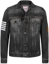 Palm Angels Grey Printed Denim Jacket