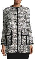 Nanette Lepore Long-Sleeve Button-Front Topper Coat, Black/Ivory