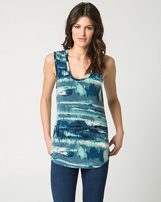 Le Château Abstract Print Jersey Scoop Neck Tank Top