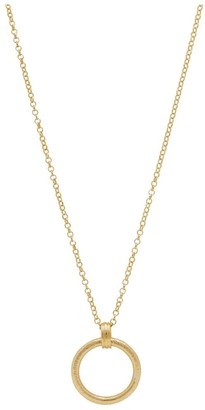 Simply Silver Sterling Silver 925 14ct Yellow Gold Satin Texture Open Link Pendant