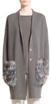 Fabiana Filippi Women's Wool, Silk & Cashmere Cardigan With Genuine Fox Fur & Ostrich Feather Trim