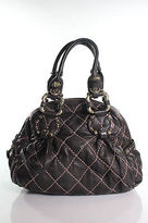 Juicy Couture Brown Leather Quilted Handbag Size Small