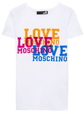 Love Moschino Printed Textured Cotton-jersey T-shirt