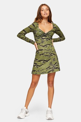 Topshop Womens Camouflage Print Twist Front Flip Dress - Green