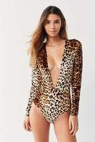 Out From Under Selina Super Plunge Leopard Bodysuit
