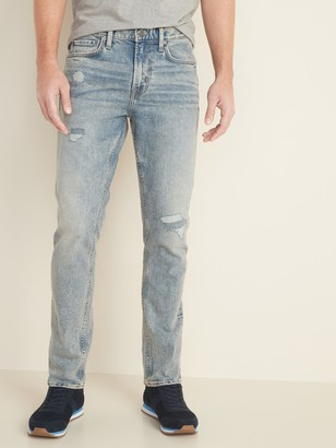 Old Navy Relaxed Slim Built-In Flex Distressed Acid-Wash Jeans for Men