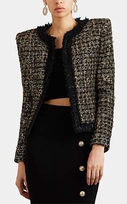 Balmain Women's Metallic Tweed Collarless Jacket - Black