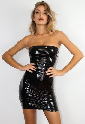 Missguided Black Vinyl Bandeau Mini Dress