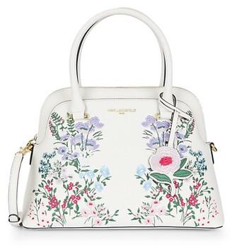 Karl Lagerfeld Paris Floral Leather Dome Satchel