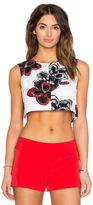 Milly Magnolia Print Cropped Shell
