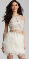 Jovani Two Piece Feather Beaded Homecoming Dress