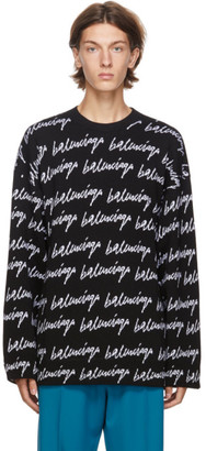 Balenciaga Black and White Knit Scribble Logo Sweater